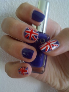 Union jack flag nail art
