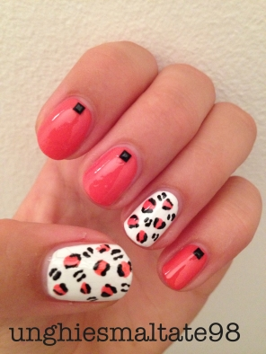color leopard nail art