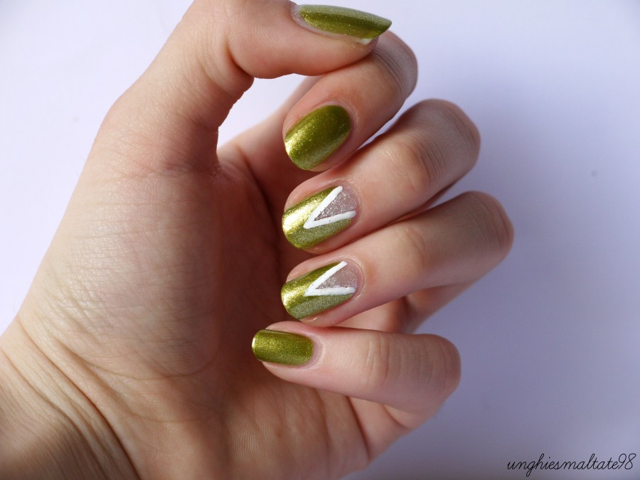 Green glitter nail art - Official Blogger MI-NY