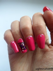 Pink butterfly nail art