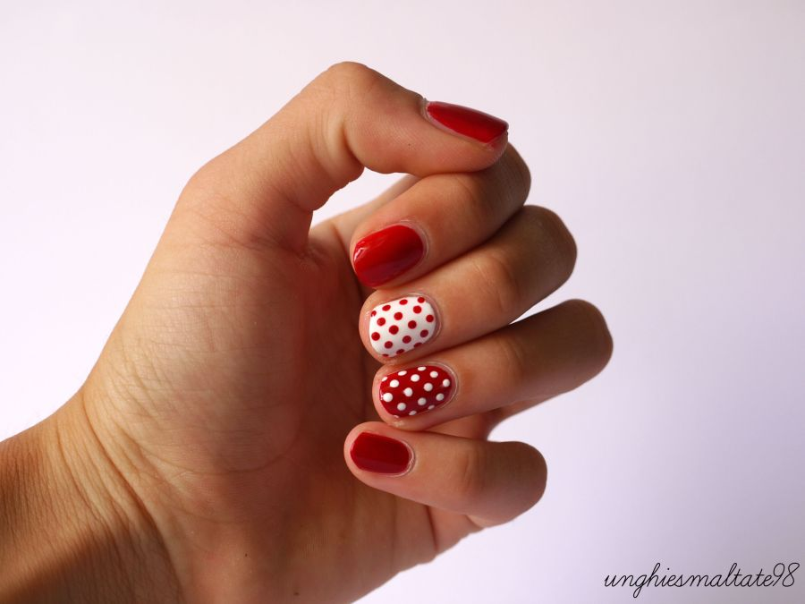 White and Red Pois nail art - Official Blogger MI-NY